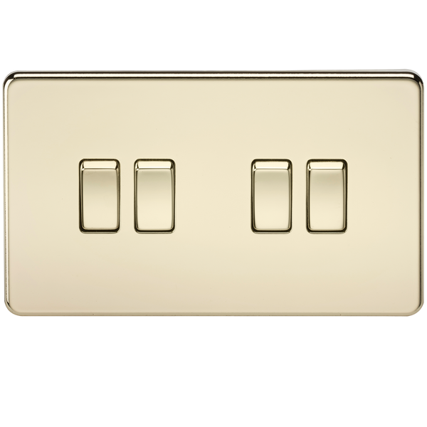 Knightsbridge SF4100PB Screwless 10A 4G 2-Way Switch Polished Brass - SND Electrical Ltd