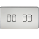 Knightsbridge SF4100PC Screwless 10A 4G 2-Way Switch Polished Chrome - SND Electrical Ltd