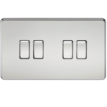 Screwless 10A 4G 2-Way Switch Polished Chrome