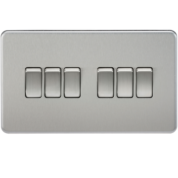 Screwless 10A 6G 2-way Switch Brushed Chrome