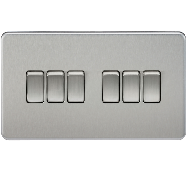Knightsbridge SF4200BC Screwless 10A 6G 2-way Switch Brushed Chrome - SND Electrical Ltd
