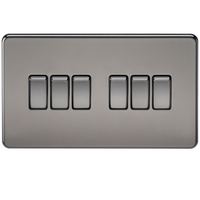 Screwless 10A 6G 2-way Switch Black Nickel - SND Electrical Ltd