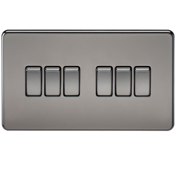 Screwless 10A 6G 2-way Switch Black Nickel