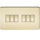 Knightsbridge SF4200PB Screwless 10A 6G 2-way Switch Polished Brass - SND Electrical Ltd