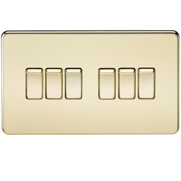 Screwless 10A 6G 2-way Switch Polished Brass