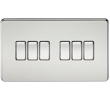 Screwless 10A 6G 2-way Switch Polished Chrome