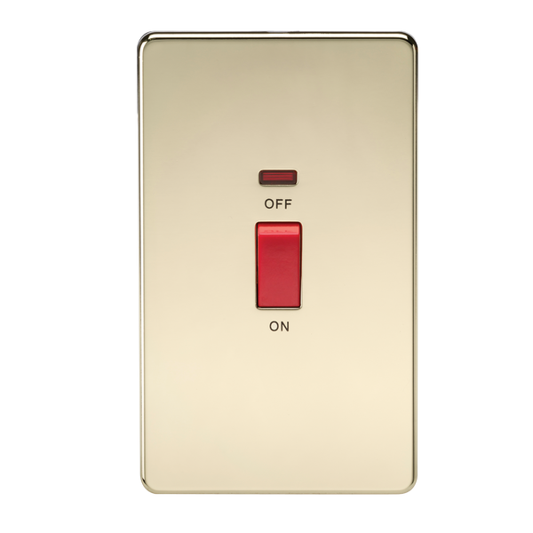 Knightsbridge SF8332NPB Screwless 45A 2G DP Switch with Neon Polished Brass - SND Electrical Ltd