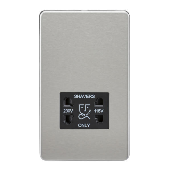 Knightsbridge SF8900BC 115V/230V Dual Voltage Shaver Socket Brushed Chrome MLA - SND Electrical Ltd