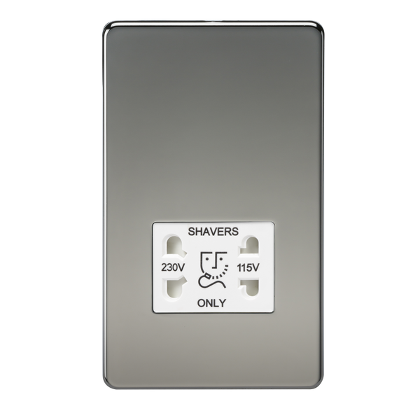 Knightsbridge SF8900BN 115V/230V Dual Voltage Shaver Socket Black Nickel MLA - SND Electrical Ltd