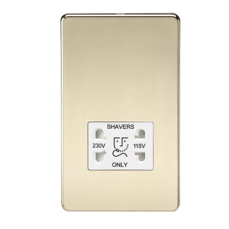 Knightsbridge SF8900PB 115V/230V Dual Voltage Shaver Socket Polished Brass MLA - SND Electrical Ltd