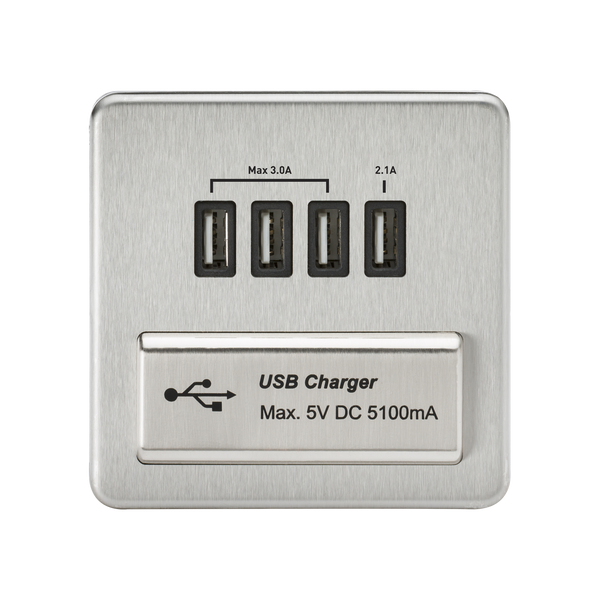 Knightsbridge SFQUADBC 1G Quad USB Charger Outlet Brushed Chrome MLA - SND Electrical Ltd