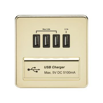 1G Quad USB Charger Outlet Polished Brass MLA
