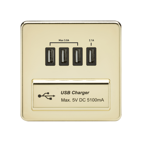 Knightsbridge SFQUADPB 1G Quad USB Charger Outlet Polished Brass MLA - SND Electrical Ltd