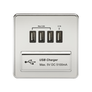 Knightsbridge SFQUADPC 1G Quad USB Charger Outlet Polished Chrome MLA - SND Electrical Ltd