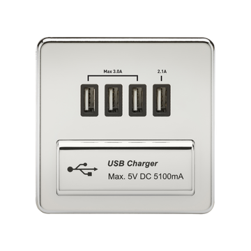 1G Quad USB Charger Outlet Polished Chrome MLA