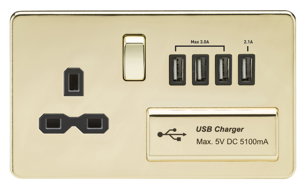 Knightsbridge SFR7USB4PB 1G 13A Switched Socket Quad Usb Charger Polished Brass MLA - SND Electrical Ltd