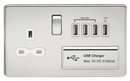 Knightsbridge SFR7USB4PC 1G 13A Switched Socket Quad Usb Charger Polished Chrome MLA - SND Electrical Ltd