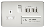 1G 13A Switched Socket Quad Usb Charger Polished Chrome MLA - SND Electrical Ltd
