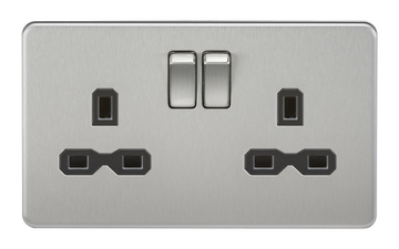 Screwless 13A 2G Dp Switched Socket Brushed Chrome MLA