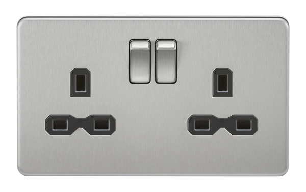Knightsbridge SFR9000BC Screwless 13A 2G Dp Switched Socket Brushed Chrome MLA - SND Electrical Ltd