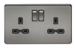 Screwless 13A 2G Dp Switched Socket Black Nickel MLA - SND Electrical Ltd