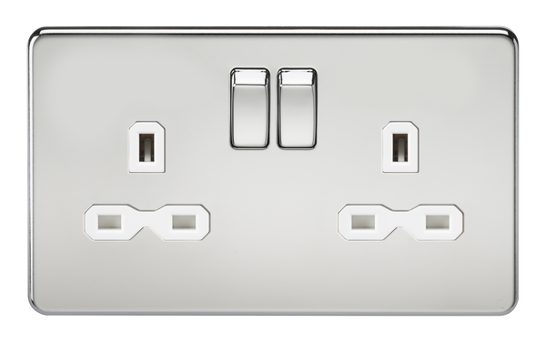 Screwless 13A 2G Dp Switched Socket Polished Chrome MLA - SND Electrical Ltd