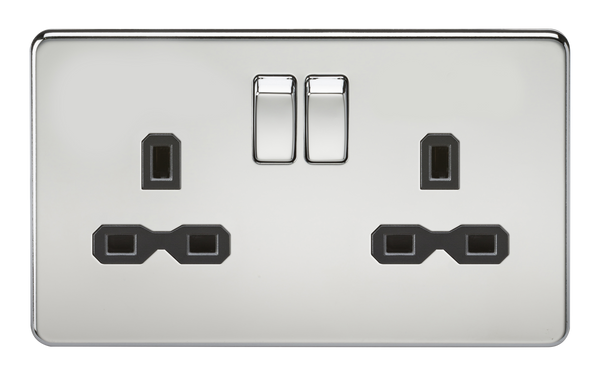 Knightsbridge SFR9000PC Screwless 13A 2G Dp Switched Socket Polished Chrome MLA - SND Electrical Ltd