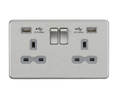 Knightsbridge SFR7USB4BC 13A Switched Socket Quad USB charger Brushed Chrome MLA - SND Electrical Ltd