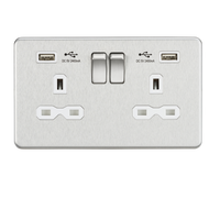 13A Switched Socket Quad USB charger Brushed Chrome MLA - SND Electrical Ltd