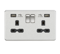 13A Switched Socket Quad USB charger Brushed Chrome MLA