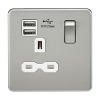 Knightsbridge SFR9901BC 13A 1G Switched Socket Dual Usb Charger Brushed Chrome MLA - SND Electrical Ltd