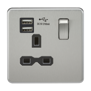 13A 1G Switched Socket Dual Usb Charger Brushed Chrome MLA