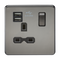 Knightsbridge SFR9901BN 13A 1G Switched Socket Dual Usb Charger Black Nickel MLA - SND Electrical Ltd