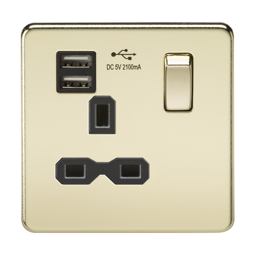 13A 1G Switched Socket Dual Usb Charger Polished Brass MLA
