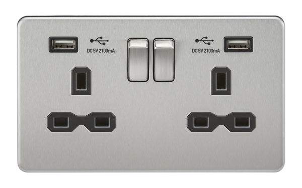 Knightsbridge SFR9902BC Screwless SFR9902BC Socket with USB Brushed Chrome MLA - SND Electrical Ltd