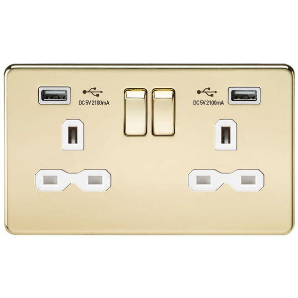 Knightsbridge SFR9902PB Screwless Socket with USB Polished Brass MLA - SND Electrical Ltd