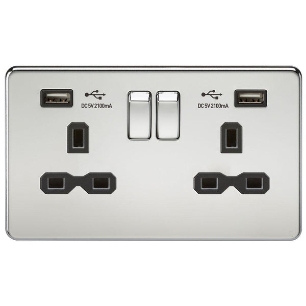 Knightsbridge SFR9902PC Screwless Socket with USB Polished Chrome MLA - SND Electrical Ltd