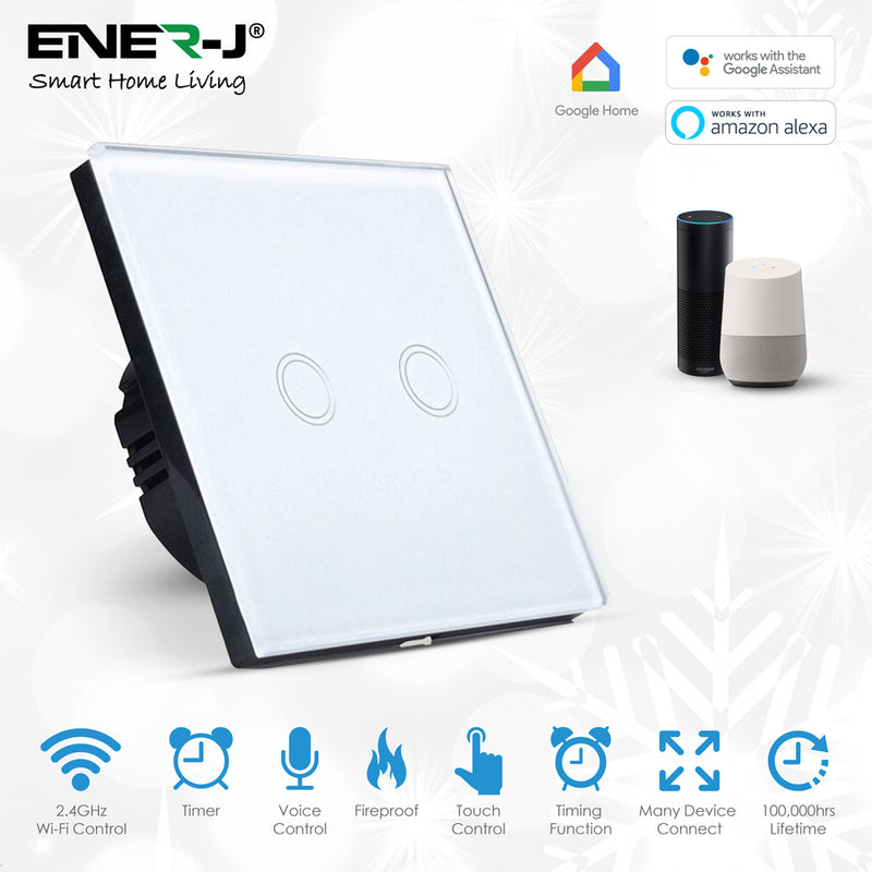 Ener-J Smart 2 Gang Touch Glass Switch (No Neutral Required)