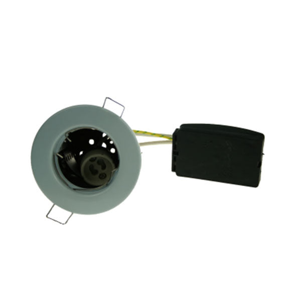 Fire Rated Downlight SUN103SC GU10 Fixed - Brushed Chrome Pressed - SND Electrical Ltd