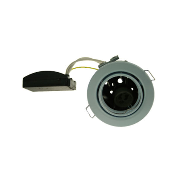 Fire Rated Downlight SUN109SC GU10 Tilt- Brushed Chrome Pressed - SND Electrical Ltd
