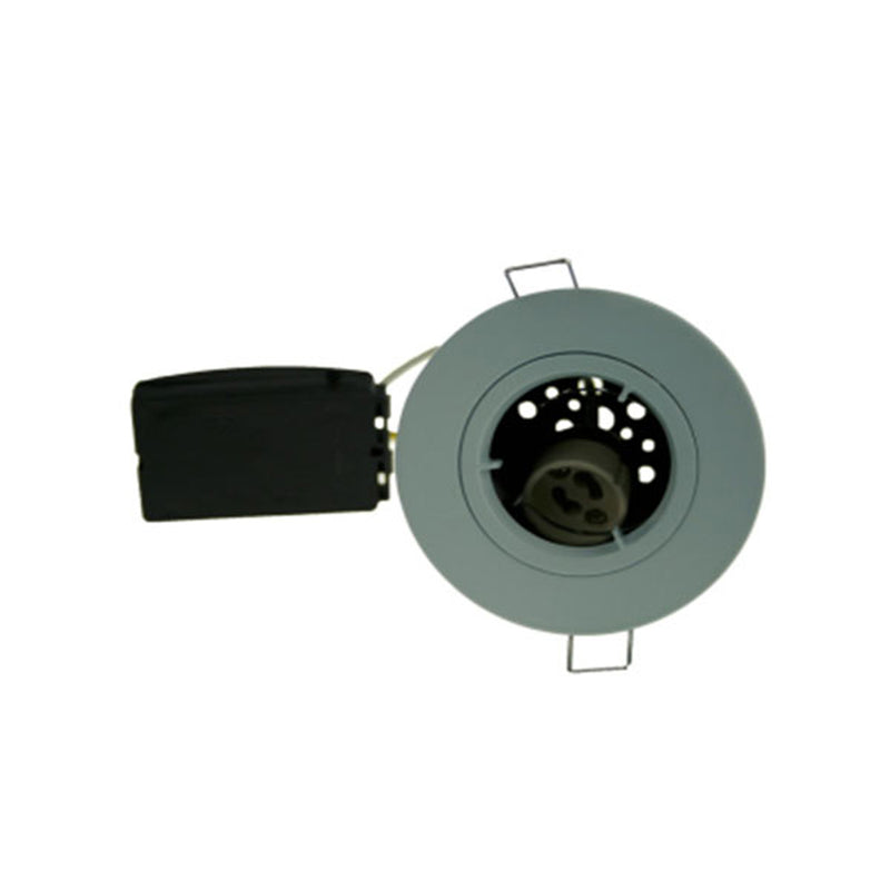 Fire Rated Downlight SUN115SC GU10 Fixed - Brushed Chrome Die-Cast - SND Electrical Ltd