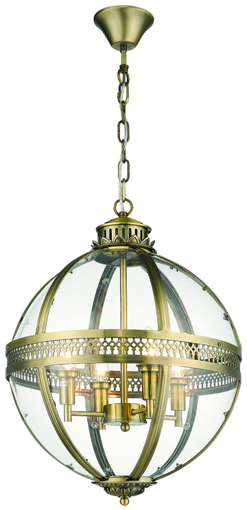 SND Lighting SND284 Winston Multi Light Pendant Antique Brass