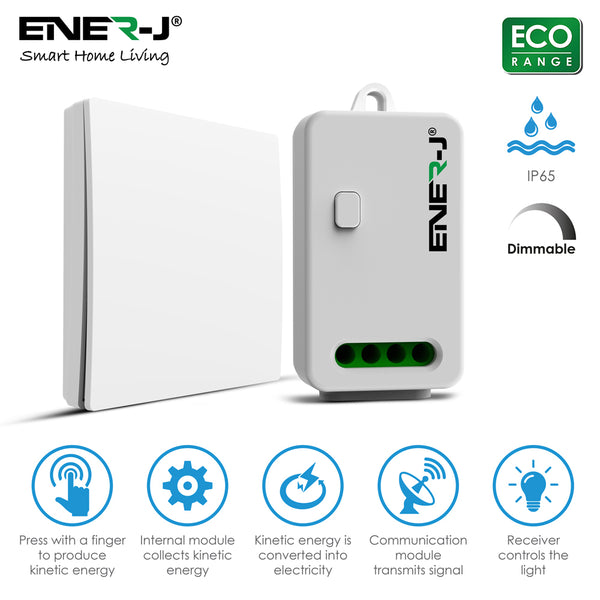 Ener-J 1 Gang Wireless Kinetic Switch + Non-Dimmable Receiver Bundle Kit