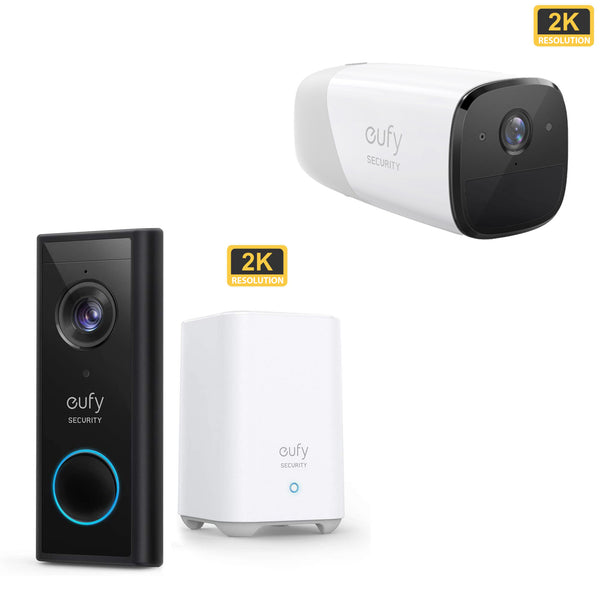 Eufy Video Doorbell 2K (Battery-Powered) with HomeBase 2 and EufyCam 2 Pro Add On Cam *BUNDLE*