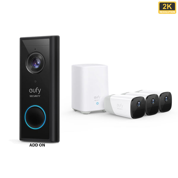 Eufy Video Doorbell 2K (Battery-Powered) Add-on & EufyCam 2 Pro - 3 Cam Kit with HomeBase 2 *Bundle*
