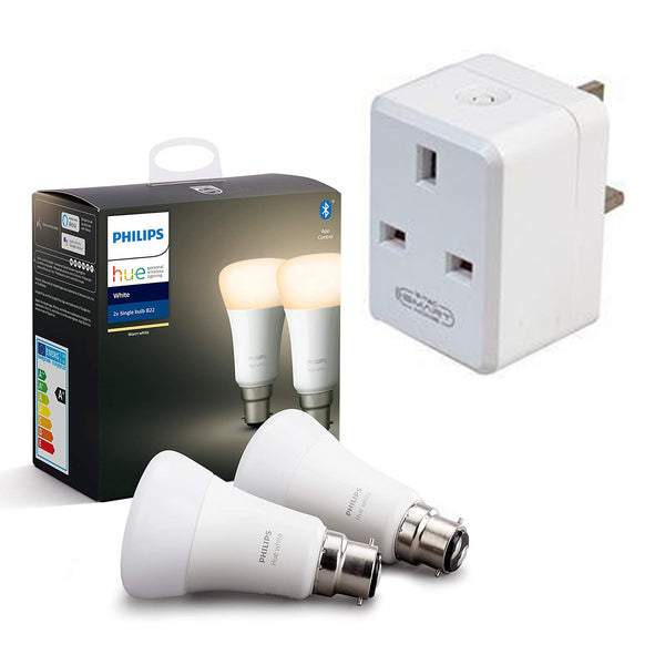 *BUNDLE* Philips Hue White Smart Bulb Twin Pack LED & V-Tac Smart Plug