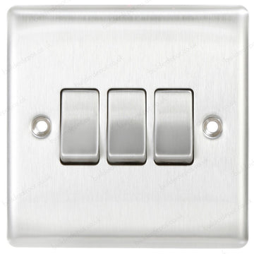 BG NBS43 Brushed Steel 3 Gang 2 Way 10 Amp 10AX Triple Light Switch Plate