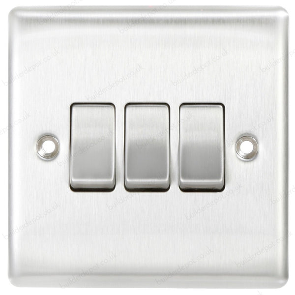 BG NBS43 Brushed Steel 3 Gang 2 Way 10 Amp 10AX Triple Light Switch Plate - SND Electrical Ltd