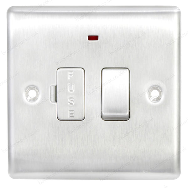 BG NBS52 Brushed Steel Fused Connection Spur 13 amp Switched and Neon - SND Electrical Ltd
