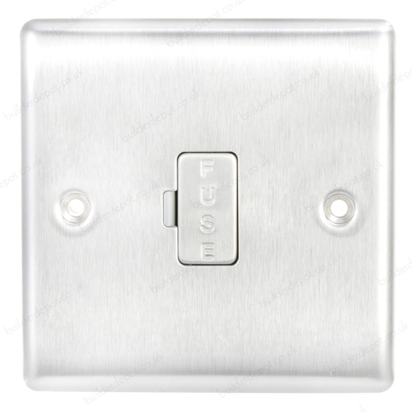 BG NBS54 Brushed Steel Fused Connection Unit (Spur) 13 Amp Unswitched - SND Electrical Ltd
